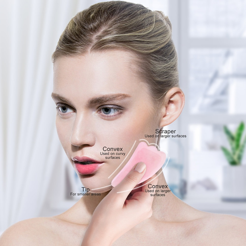 Rose Quartz Roller Slimming Face Massager Lifting Tool 5