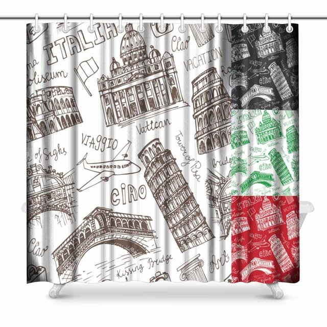 Aplysia Italy Famous Landmark Country House Image Set Vintage In Italian Travel Bathroom Shower Curtain Accessories 72 Inches