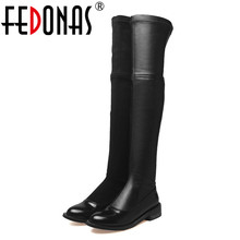 FEDONAS New Women Over The Knee Boots Sexy Long Warm Dancing Party Shoes Woman Low Heels Comfot Casual Shoes Tight High Boots