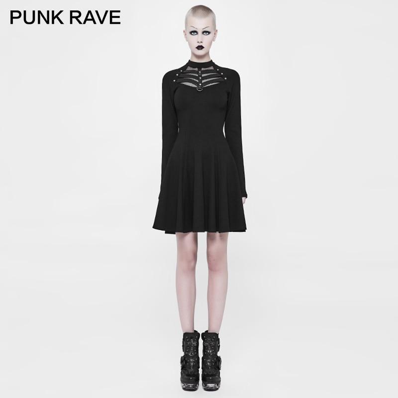 PUNK RAVE Punk Women Stream Rock Novelty Evening Short Dress Twill Woven Eyelet Drawstring Decoration Bronze