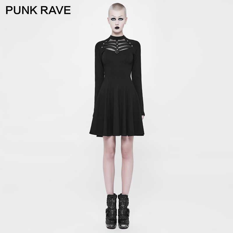 2dc33eacaddd PUNK RAVE Punk Women Stream Rock Novelty Evening Short Dress Twill Woven  Eyelet Drawstring Decoration Bronze