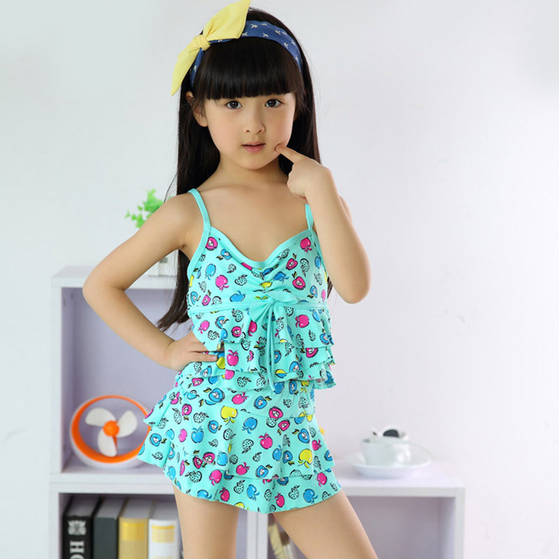 d0f64d8605 Cute Little Girls Printed Swimwear Beachwear Dress Children Two Pieces  Swimsuit Baby Girl Tankini Bikini Swimming Sets CL030-in Two-Piece Suits  from Sports ...