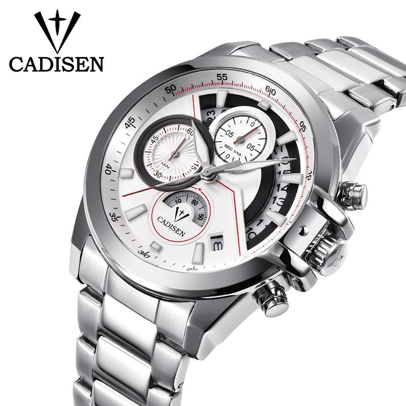CADISEN Watch Men Fashion Sport Quartz Clock Men Watches Top Brand Luxury Full Steel Business Waterproof Watch Relogio Masculino конструктор lepin creators simpsons магазин на скорую руку 2220 дет 16004