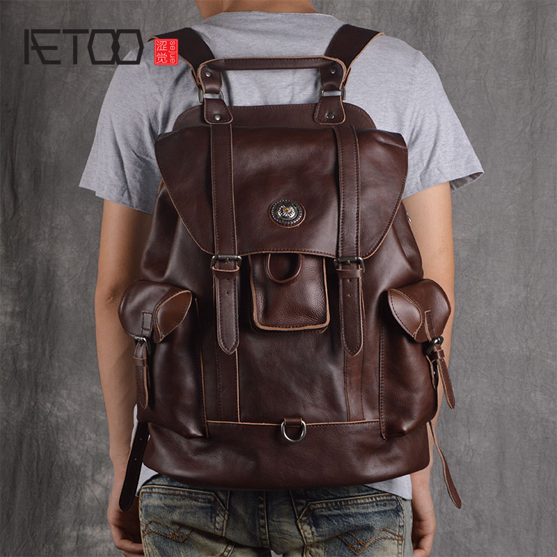 AETOO New leather men's shoulder bag European and American fashion first layer of leather multi-functional travel bag casual bac jakemy multitool jm 6101 magnetic ratchet screwdriver set home repair kit mobile phone tool for iphone laptop electronic tools
