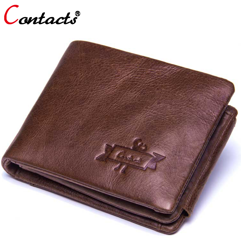 Contact's Brand Genuine Leather Men Wallets Male Coin Purse Men Clutch Bags Walet Credit Card Holder Wallet Small Money Bag New new arrival leather wallets men brand business long purses money bag credit card holder 2017 new zipper phone clutch wallet male