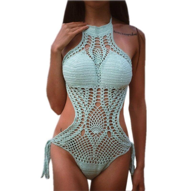 GI FOREVER Jednodílný oblek Bikin Ženy Sexy Hollow Out plavky Dámský vysoký krk ručně háčkované plavky Maillot De Bai