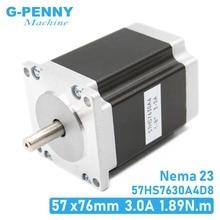Moteur pas à pas Nema 23, cnc, 57 x76mm1.89N.m, 4 fils, 1,8 deg, Nema 23 3A 270 oz in, D = 8mm, pour machine CNC, imprimante 3D! Bonne qualité