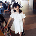 Retail Kids Girls' Summer Dress 2017 Kids Dresses for Girls Clothes Cotton Lace Dress for Teenage Girls Off Shoulder Dress White