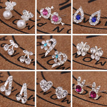 Fashion earrings love animal symbols girl earring jewelry Water droplets Mosaic crystal rabbit butterfly pearl Silver metal(China)