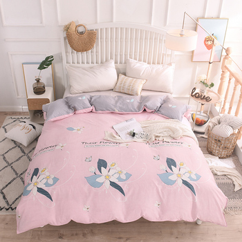 100% Cotton Pastoral pink Flower Cartoon Style Fashion Bedding sets Bed fitted Sheet Duvet Cover Pillowcase 4pcs Bedding Sets