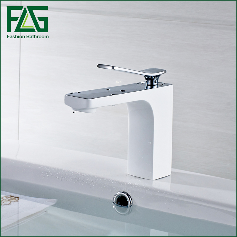 High quality fashion design bathroom countertop basin mixer faucet, brass material chrome white water tap