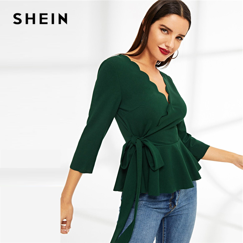 e37bfa5e6d13b6 SHEIN Green Scallop Edge Surplice Wrap Knot Flare Hem Peplum Top Casual V-neck  Long Sleeve Blouse Women Spring Plain Top Blouses