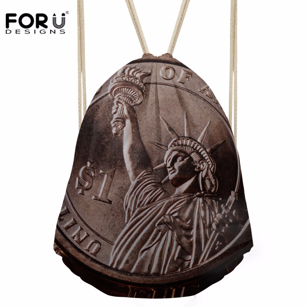 FORUDESIGNS Drawstring Bag Women's Famous Scenery Prints Backpack Girls Storage Package for Kids Mini College Softback Bolsos