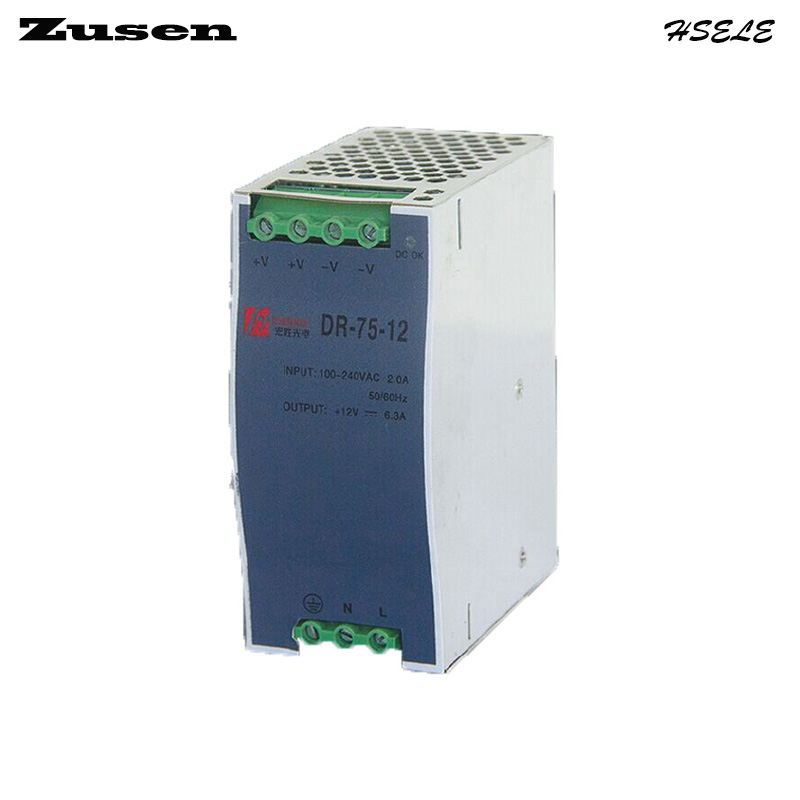 Zusen DR-75W-24V 3.2A overload protection Din Rail Switch Power supply 110/220VAC to 24VDC free shipping