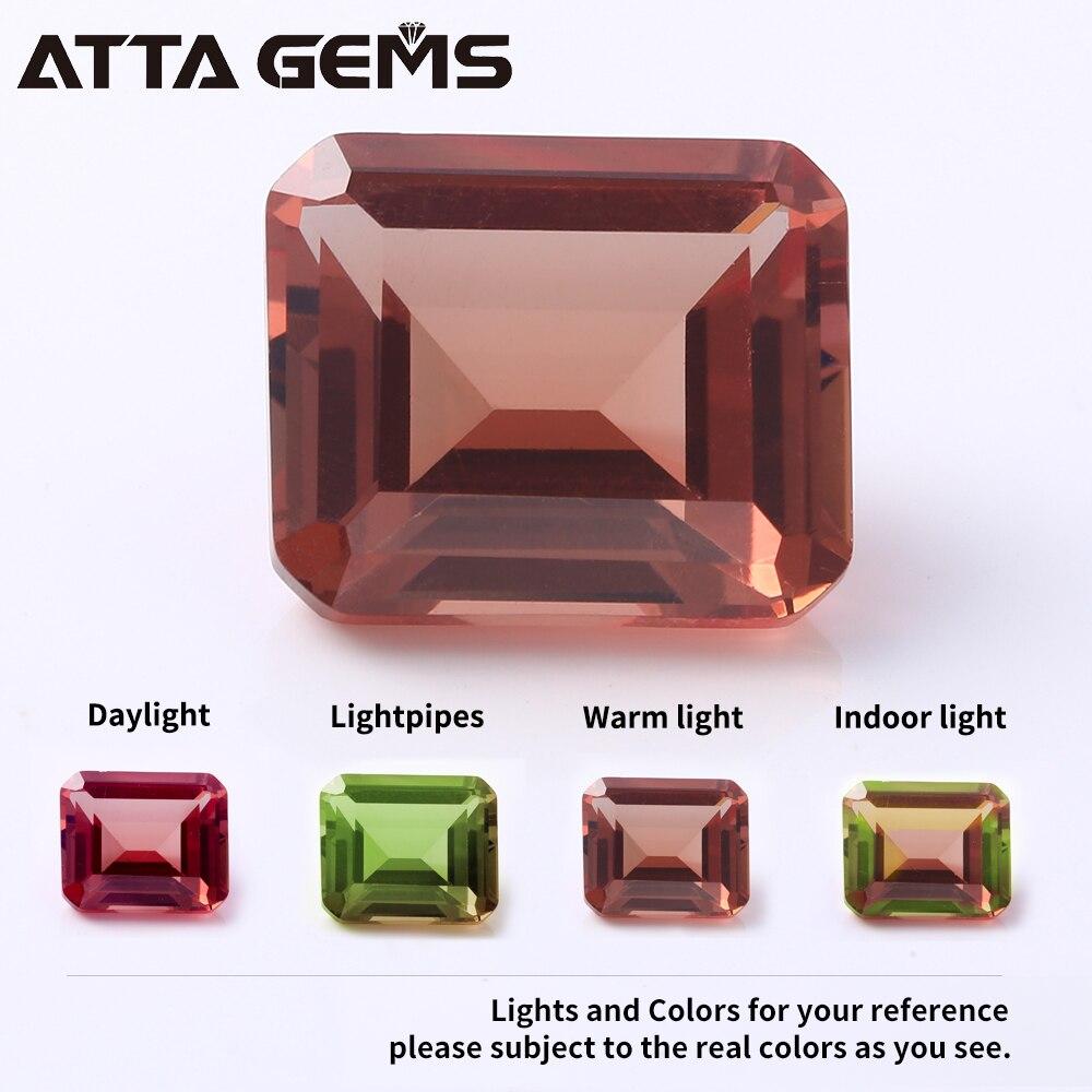 Loose Gemstone Emerald-Cut Created-Color Diaspore Jewelry-Design for Octangon-Shape