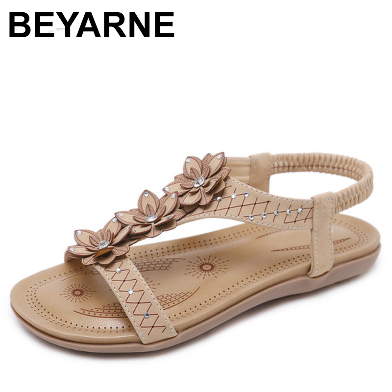 BEYARNE Summer Women Casual Flats Beach Sandals Shoes Woman Bohemia Rhinestone Peep toe Flower Sexy Gladiator Sandals beyarne free shipping new fashion women sandals 2017 flower crystal summer sandals bohemia casual flat woman shoes