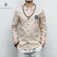 Zeeshant 2018 Spring Summer Men S Linen Cotton Shirt Mandarin Collar Breathable Traditional Chinese Roll Up