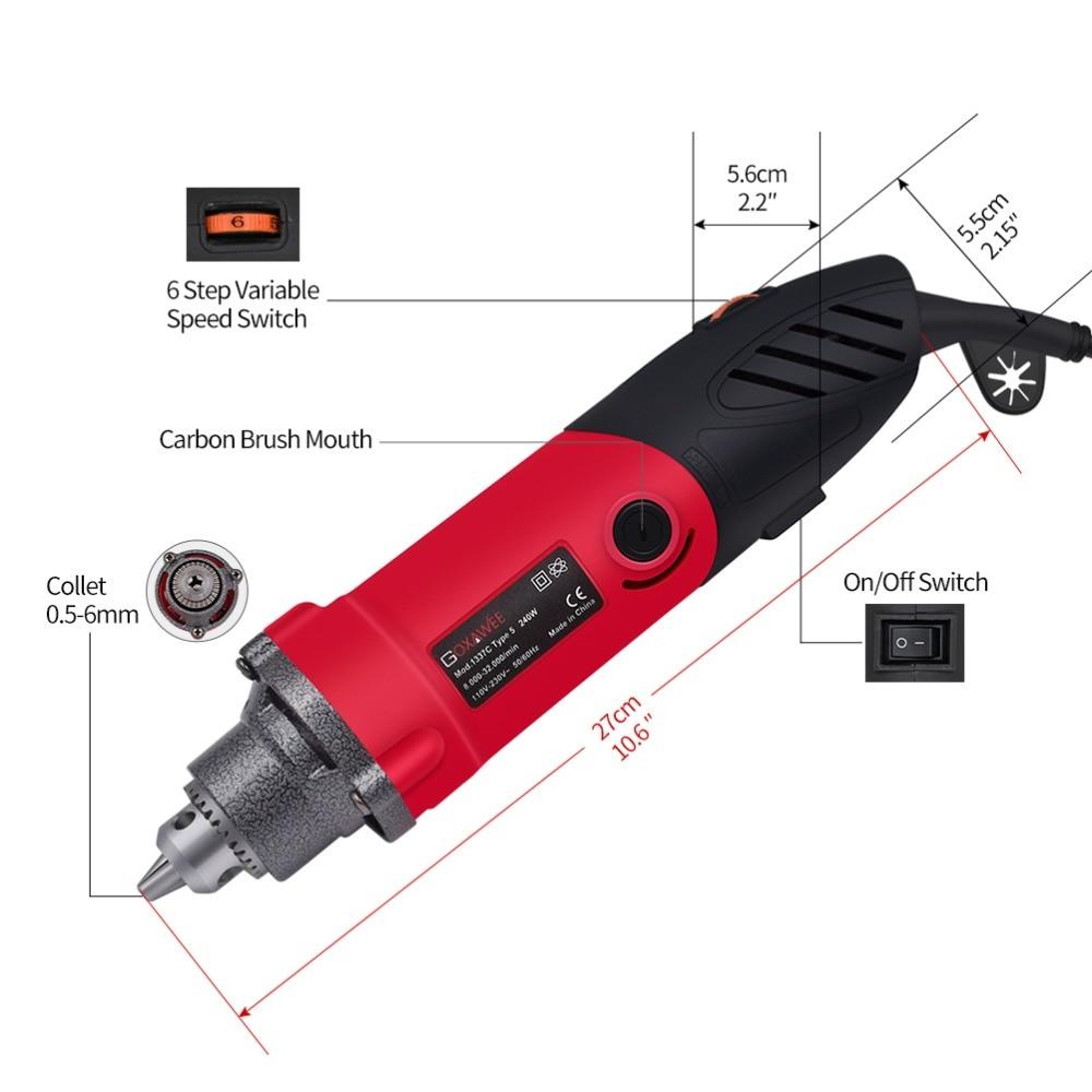 220 V 240W elektrinis gręžtuvas, 6 padėčių kintamo greičio - Elektriniai įrankiai - Nuotrauka 2