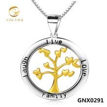 Al por mayor Plata de Ley 925 Collar Árbol Genealógico Grabado Joyería de Oro Árbol de la Vida Colgante Collar de Cadena Para Las Mujeres GNX0291