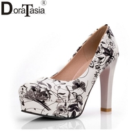 DoraTasia Floral Print Women Pumps Summer Spring High Heel Wrapped Platform Shoes For Woman Party Wedding