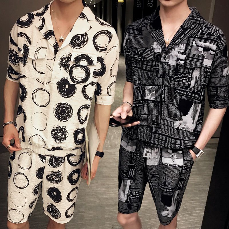 Summer Korea Style Clothes Mens T Shirts And Short 2 Pcs Set Personality Printed Mens Clothing Fashion Streetwear Ropa De Hombre
