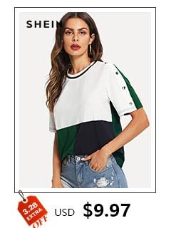 a5e800c72e SHEIN Lady Simple Round Neck Graphic Print White T Shirt Summer ...