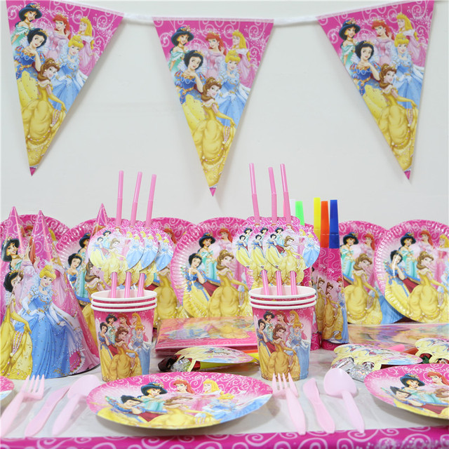 Princess Theme Paper Plates Kids Favors Banners Baby