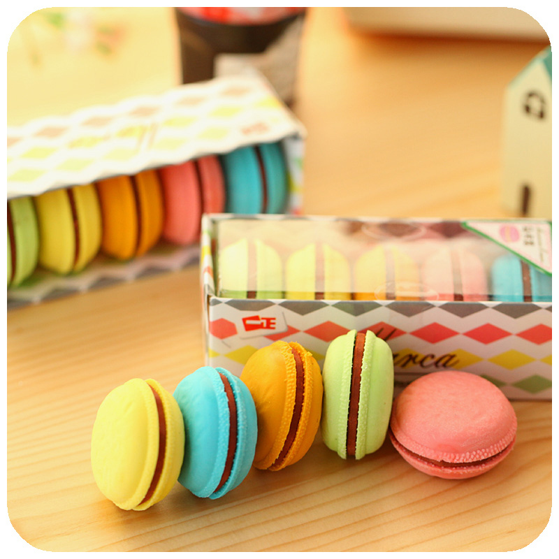 5 Pcs/set Macaron Color Erasers Cute Cake Rubber Eraser For Kids Borracha Funny Stationery Material Escolar School Supplies 6471