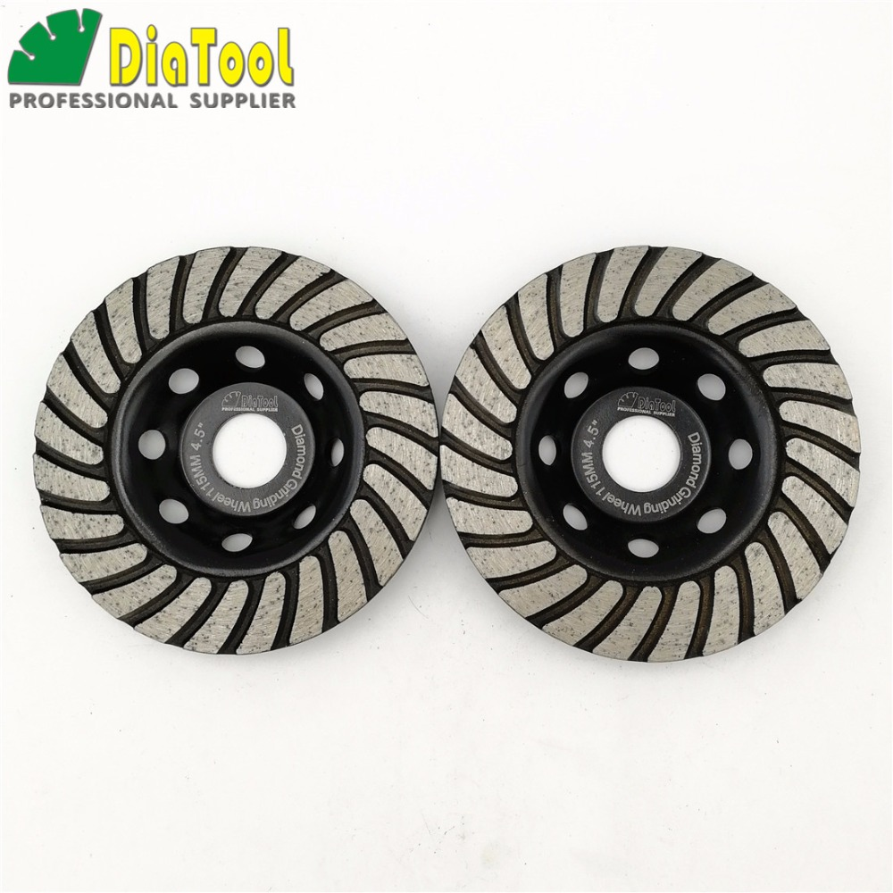 DIATOOL 2pcs 115mmDiamond Turbo Row Grinding Cup Wheel For Concrete Masonry And Some Oth ...