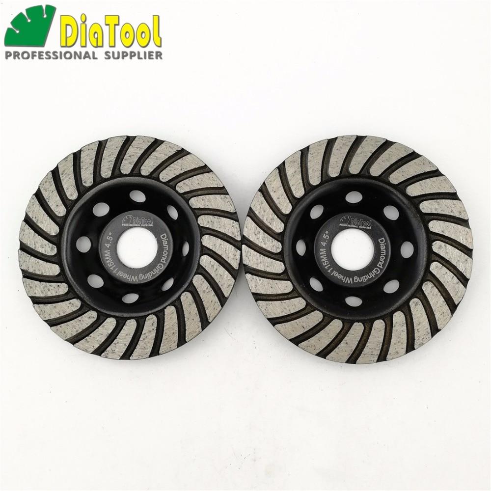 DIATOOL 2pcs 115mmDiamond Turbo Row Grinding Cup Wheel For Concrete Masonry And Some Oth ...