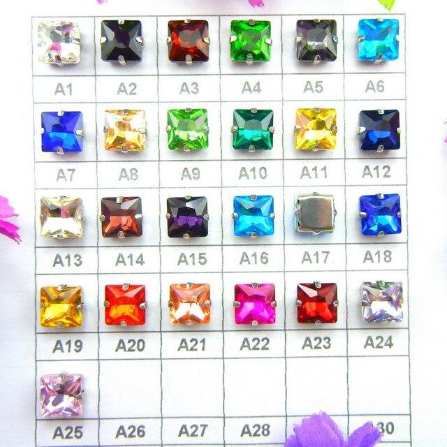 Glass Crystal Silver claw settings 8mm 10mm 12mm Fancy colors Square shape  Sew on rhinestone beads garment shoes bags diy trim 1bc60e0f7b18