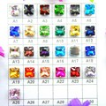 Glass Crystal Silver claw settings 8mm 10mm 12mm Fancy colors Square shape Sew on rhinestone beads garment shoes bags diy trim
