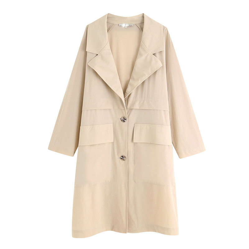 New Casual Loose Long Trench Coat Women Plus Size Pockets Woman Classic Single Breasted Spring Casual Business Outerwear KY9417