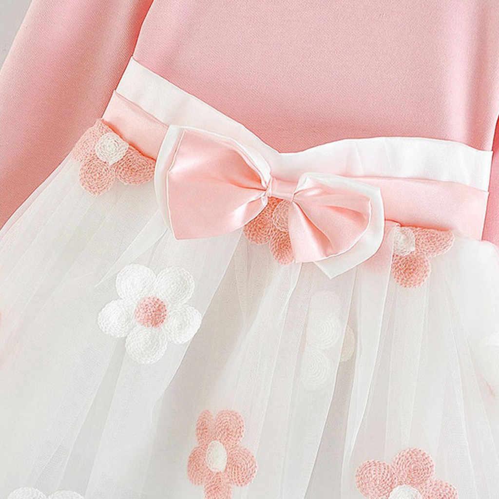 Dziewczyna sukienka maluch dzieci dziewczynek z długim rękawem tiul Patchwork kwiat łuk sukienki księżniczki na przyjęcie ubrania dla dzieci 6M-5Y C50 #