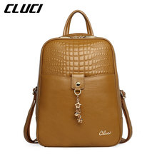 CLUCI Women's Backpacks Fashion Stylish Genuine Leather Black/Tan Alligator Pattern Small Girl School Backpack Daypacks Soft Bag