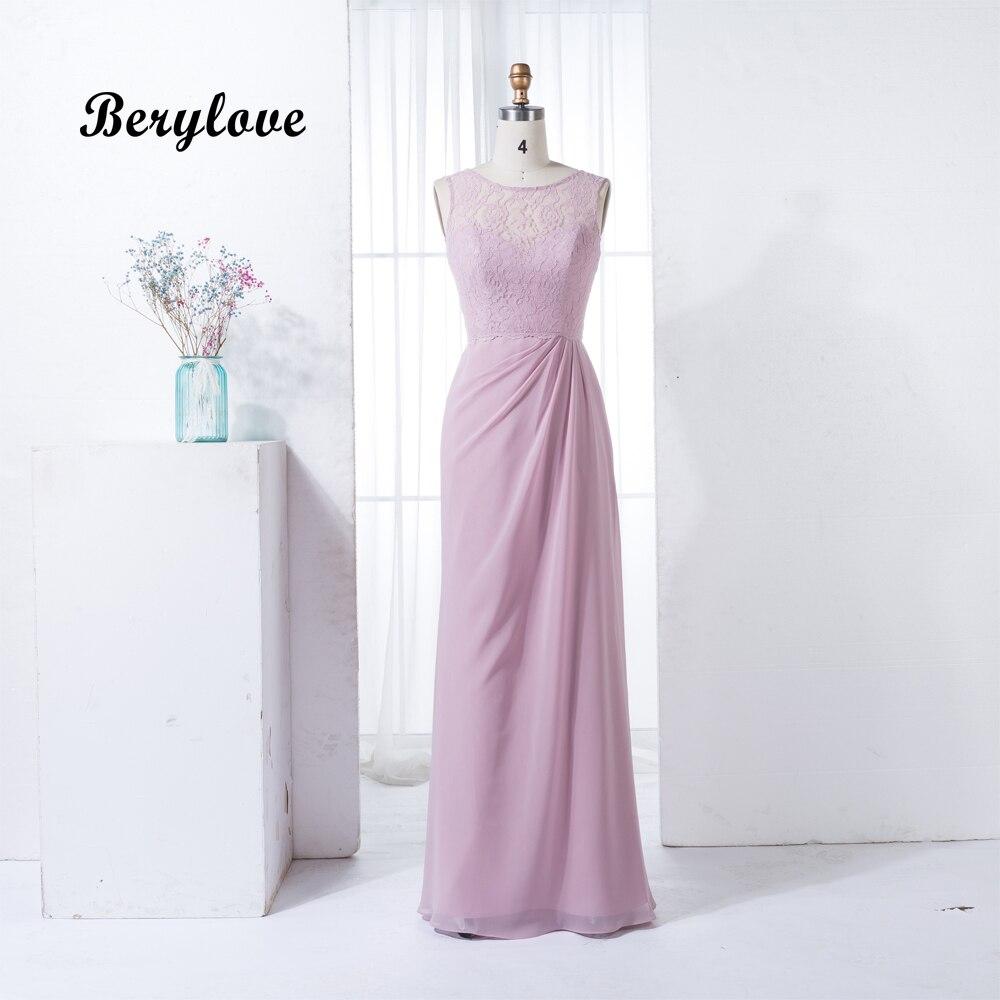 BeryLove Long Lavender Bridesmaid Dresses 2018 Chiffon Lace Bridesmaid Gowns Beach Wedding Party Dress Bridesmaid Plus Size