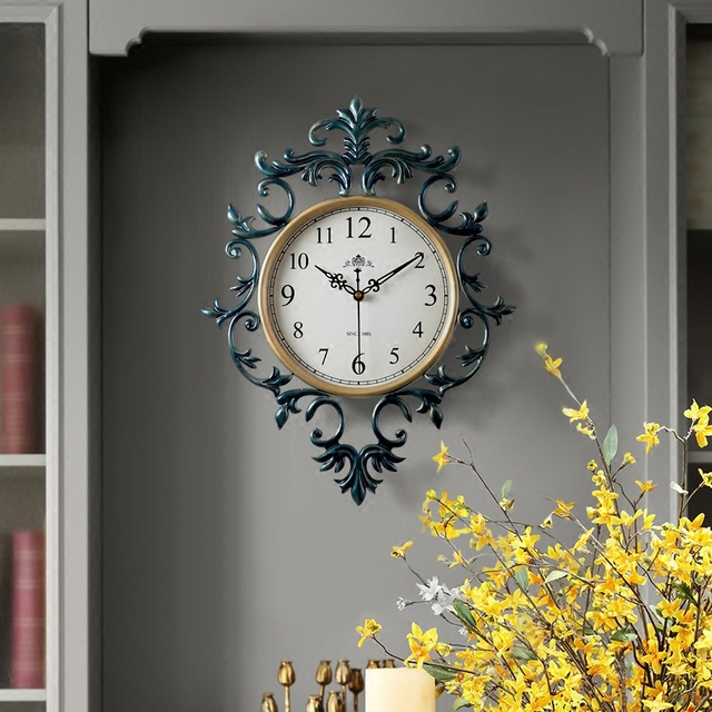 Retro Vintage European Style Living Room Large Decorative Wall Clocks Concise 19 inch Mute Silent Quartz Movement Sweep Second H