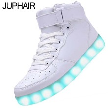 JUP Unisex Mens GirlsTactical USB Charging LED High Top Shoes Shining light illuminate Intermitentes Colores Adult