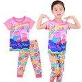 2016 de alta calidad de la marca de Primavera otoño Pijama de algodón de dibujos animados cerdo rosado niños niñas ropa traje niños Chándal ropa de dormir