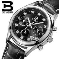 Switzerland Binger Watches Women Luxury Quartz Waterproof Genuine Leather Strap Chronograph Wristwatches BG6019 W5