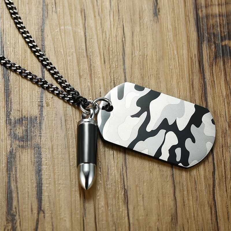 Kamuflaż męski naszyjnik identyfikator dla psa z kulą w kolorze czarnym biżuteria wojskowa ze stali nierdzewnej