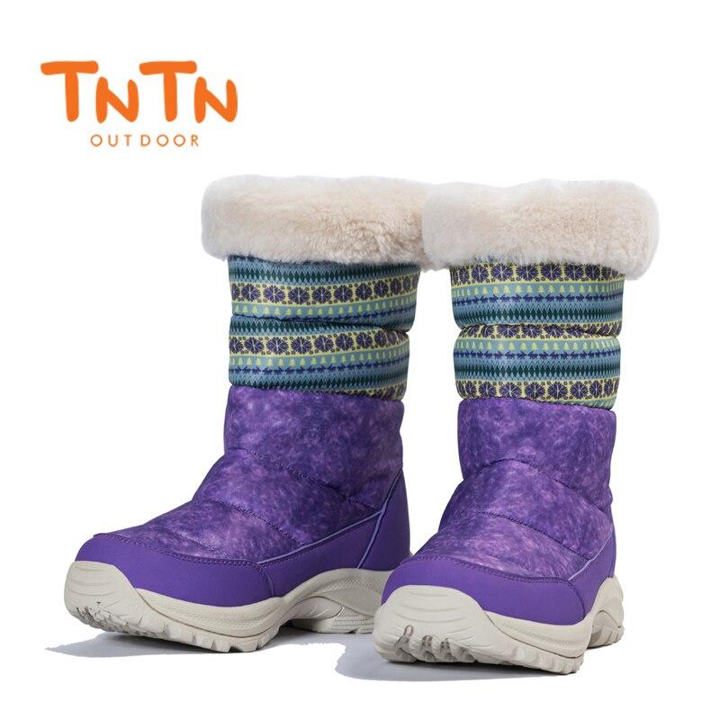 2017 TNTN Outdoor Waterproof Hiking Boots Winter Snow Boots Women Fleece Lining Winter Hiking Shoes Snow Waterproof Walking Shoe
