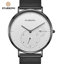 STARKING Creative Watches Men Steel Stainless Black Mesh Band Watch Female Quartz Wrist Watches With Auto Date Display Relogios