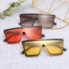 MARC Sunglasses Women 2019 Luxury Brand Trendy Flat oversized Red Black Ocean Lens One Piece Men Gafas Shade Mirror UV400