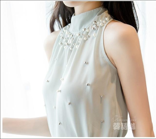 2018 New Women Beading Chiffon Blouse Korean Fashion Sleeveless Women Turtleneck Chiffon Blouse Shirt Women Top S M L XL835I 42
