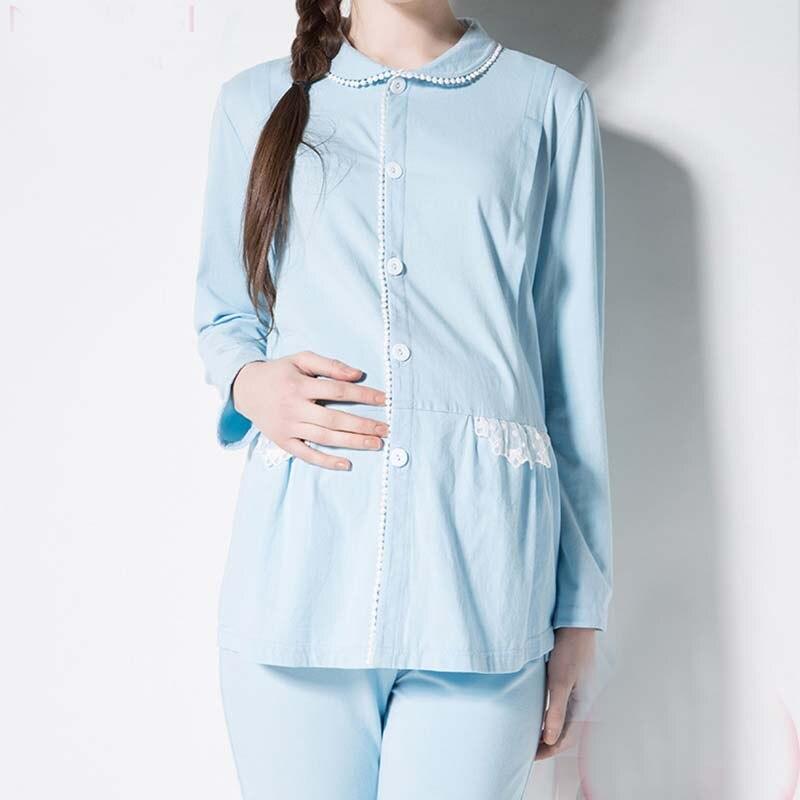 ФОТО Women Big Size Full Sleeve Pregnant Clothes Maternity Sleepwear Cotton Maternal Nursing Breastfeeding Pajamas