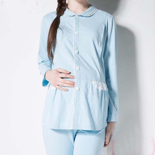 Women Big Size Full Sleeve Pregnant Clothes Maternity Sleepwear Cotton Maternal Nursing Breastfeeding Pajamas
