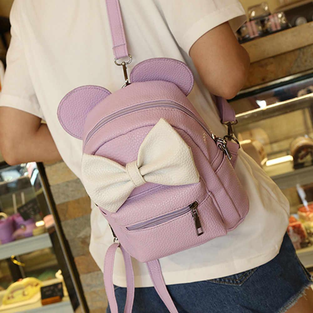 2018 Новый Микки рюкзак из искусственной кожи женский мини сумка Для женщин рюкзак с милым бантом для девочек-подростков рюкзаки школьные леди сумка сумка