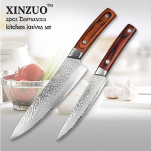 XINZUO 2 pcs kitchen knife set 67 layers Japanese VG10 Damascus kitchen knife sharp chef utility knife wood handle free shipping