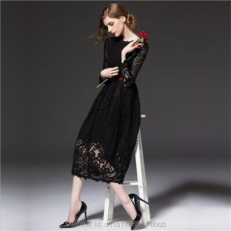 Nouveautés 2018 été femmes Sexy dentelle décontracté fête bal robes noires bureau élégant une ligne longue Boho robe L002
